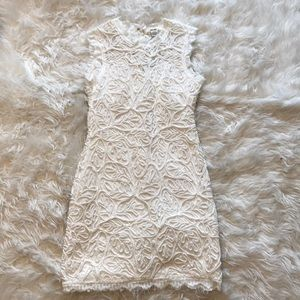 White textured lace dress